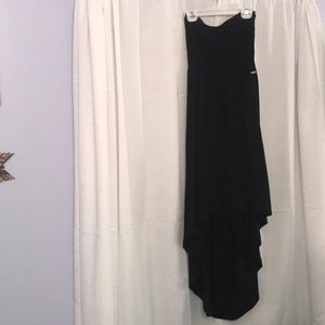 GUESS Black strapless high low dress